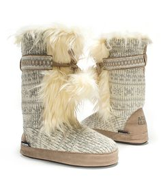 Look at this MUK LUKS Winter White Jewel Slipper Boot - Women on #zulily today!