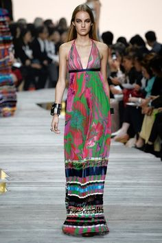 It's the 70s all over again! You feeling it? Roberto Cavalli maxi dresses were all about sexual revolution. #milanfashionweek2014