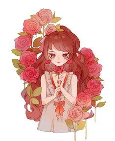 New Flowers Girl Red Ideas Pelo Anime, 5 Anime, Anime Angel, Anime Chibi, Anime Girl Cute, Beautiful Anime Girl, Kawaii Anime Girl, Anime Art Girl, Chibi Kawaii