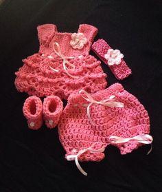 Crocheted Preemie Baby Set Dress Headband Shoes Diaper Cover