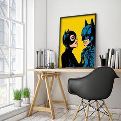 Batman and Catwoman Customizable Comic Book Illustration