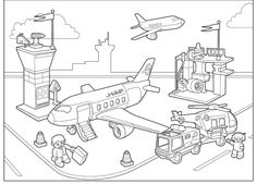 Airport coloring pages for kids Free Kids Coloring Pages, Printable Coloring Pages, Coloring Pages For Kids, Coloring Books, Lego For Kids, Fun Games For Kids, Flying With Kids, Transportation Theme, Kids Pages