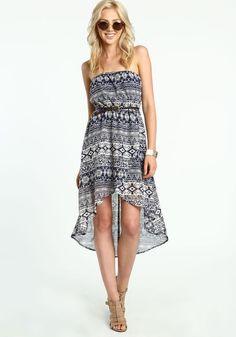 Hi Low Tribal Printed Dress, NAVY BLUE