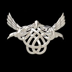 Celtic Triple Goddess Raven Knotwork Pendant .925 Sterling Silver