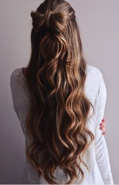 Long Hair - Wavy brown hair with bow.