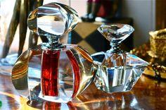 geometric crystal perfume bottles.