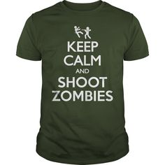 Keep Calm and Shoot Zombies T-Shirts, Hoodies. GET IT ==► https://www.sunfrog.com/Zombies/Keep-Calm-and-Shoot-Zombies-T-Shirt-Forest-Guys.html?41382