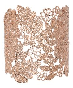Another great find on #zulily! Rose Gold Floral Filigree Cuff by Stella + Ruby #zulilyfinds