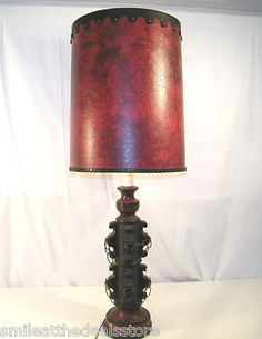 VINTAGE MID CENTURY SPANISH COLONIAL REVIVAL STYLE TABLE LAMP RED SWORD  DESIGN