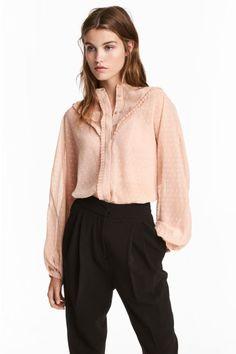 Шифоновая блузка - Светло-бежевый - Женщины | H&M RU