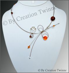 orange brown clear necklace bridesmaids necklace by creationtwinne, $36.50