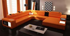 Awesome Decorating With an Orange Sofa for Living Room: Superb Decorating With An Orange Sofa Design Italian Leather Sectional Sofa ~ flohomedesign.com Living Room Inspiration