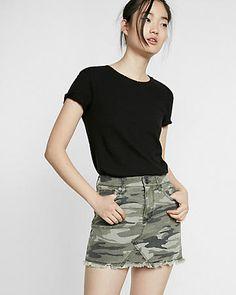 Mid Rise Camouflage Twill Mini Skirt