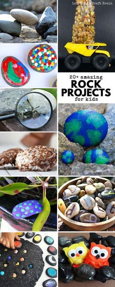 Try these Amazing Rock Projects to Do with Kids! Kids will love DIY rock crafts, rock play, and rock science! Rocks projects are cheap and easy ways to keep entertained this spring. Perfect for Earth Day or any other day of the year! via @craftbrain Science Projects For Kids, Science Activities For Kids, Fun Crafts For Kids, Stem Activities, Art For Kids, Nature Activities, Educational Activities, Science Experiments, Kid Crafts
