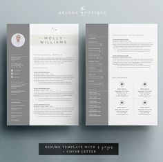 Resume Template 3page   CV Template + Cover Letter for MS Word   Instant Digital…