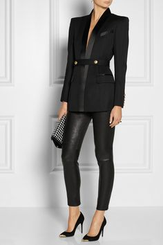 Balmain | Belted satin-trimmed wool tuxedo jacket | NET-A-PORTER.COM