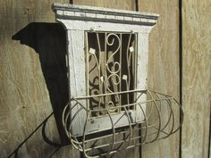 Shabby chic decor, Vintage wire basket,French window basket, wire basket,wire planter,metal basket,flower basket,