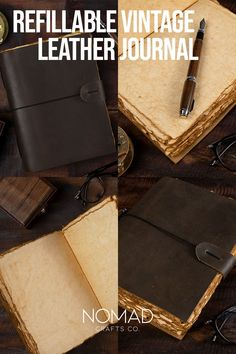 We listened to our loyal customers and introduced our unique vintage refillable journal. The Leather cover is refillable with NomadCraftsCo. vintage paper refills. Refillable Journal, Calligraphy Pens, Paper Book, Leather Journal, Book Of Shadows, Leather Cover, Vintage Paper, Vintage Leather