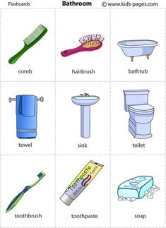 Household vocabulary - Bathroom furniture and tools [flashcards] Learning English For Kids, English Lessons For Kids, Kids English, English Tips, English Language Learning, English Class, Teaching English, French Lessons, German Language