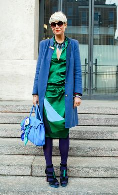This outfit is analogous because the green and the blue are adjacent colors and look similar.