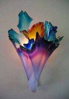 Blown Glass Wall Sconce by Ethel A. Furman & Associates (colorful)