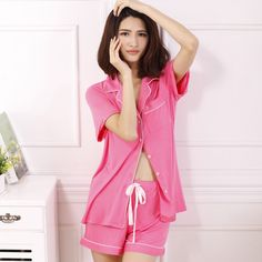 Hot sale summer new soft modal cotton fabric short sleeves and shorts women pajama sets high-quality sleep lounge for ladies aliexpress.com