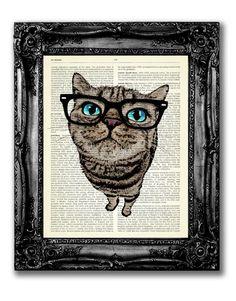 Gatto con occhi azzurri & nero occhiali Art di TopLondonPrints