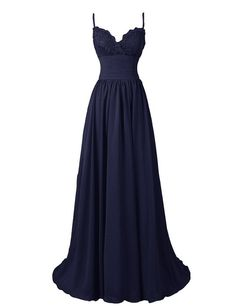 R&J Women's A-Line Floor Length Straps Sweetheart Long Lace Chiffon Prom Dress Navy Size 2