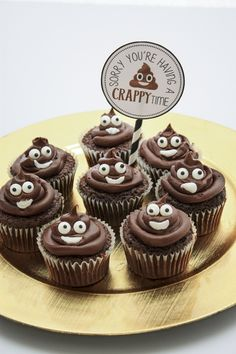 Poop Emoji Cupcakes to brighten someone's day