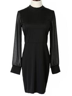 Black Chiffon Panel Backless Long Sleeve Bodycon Dress