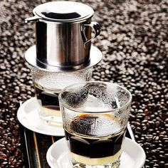"""The typical way to serve the Vietnamese filtered coffee is with condensed milk. This adds a wonderful sweetness and """"mouth feel"""" to the coffee."""