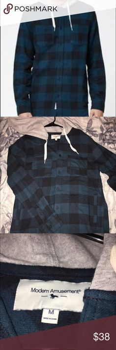 Blue and black hooded flannel My boyfriend bought this at PacSun without trying it on. Turned out to be too small! Never worn. NWT!! He ripped the tag off thinking it would fit but I still have it. Smoke free home! Accepting offers 💙💙 PacSun Tops Button Down Shirts