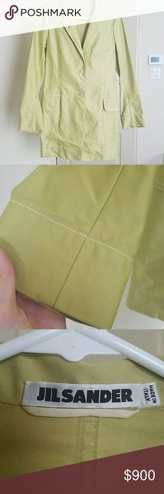 Jil Sander Lime Green Coat First picture doesn't show the color as great but the rest do. Lime/light green two button coat. 100% cotton made in Italy Jil Sander Jackets & Coats Trench Coats