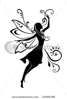 Illustration of Vector Illustration Silhouette of funky fairy on flower pattern design vector art, clipart and stock vectors. Silhouette Cameo, Fairy Silhouette, Silhouette Vector, Silhouette Projects, Silhouette Pictures, Flower Silhouette, Flower Pattern Design, Flower Patterns, Elfen Tattoo