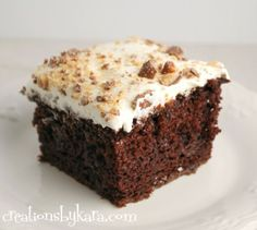Chocolate Cake with Toffee and Caramel--This cake tastes even better the next day–if it lasts that long. Yummy!!!!