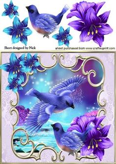 PRETTY BLUE BIRDS WITH FANTASY FLOWERS 8X8 on Craftsuprint designed by Nick Bowley - PRETTY BLUE BIRDS WITH FANTASY FLOWERS 8X8, Pretty fantasy scene makes a lovely card, lots of others to see - Now available for download!