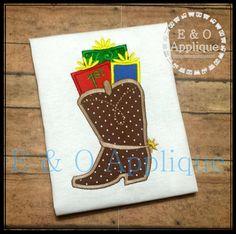 1st Christmas Boot Applique Design  Christmas by EandOApplique