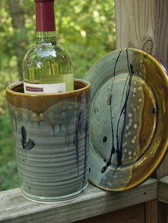 Wine Chiller Set with Seving Plate or Utensil by KbOriginalsetc, $62.00