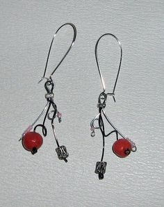 wire earrings with handmade clay beads