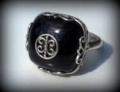 VINTAGE RENAISSANCE INSPIRED BIG BOLD ONYX STERLING SILVER HALLMARKED RING ~ WW #WW