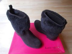 3c2a3170634  425 Kate Spade Sari Ankle Boots Shearling Cuff Brown Suede Pull On sz 9.5  M NEW