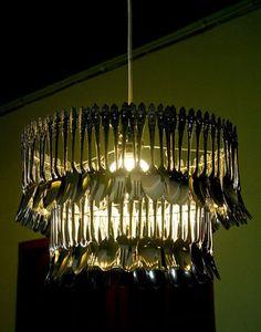 Re-purposed silverware chandelier
