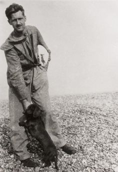 Picture of George Orwell at Walberswick, Suffolk. Used by permission. From Orwell, The Life, by DJ Taylor George Orwell never returned to his place of birth George Orwell, Photos With Dog, Writers And Poets, People Of Interest, Book Writer, Sylvia Plath, First Humans, Vintage Dog, Working Dogs