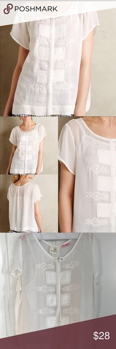 Anthropologie Haidian White Blouse Freshly dry cleaned. Worn once. Has an attached shelf tank underneath. Buttons up. Anthropologie Tops Blouses