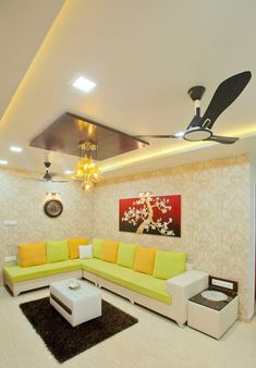 Beautiful and functional design for a 1200 sq ft home in Pune – Kanak Gupta – Be… – Indian Living Rooms Ceiling Design Living Room, House Ceiling Design, Bedroom False Ceiling Design, Living Room Designs, Drawing Room Ceiling Design, False Ceiling Living Room, Small Living Room Design, Drawing Room Interior, Interior Work