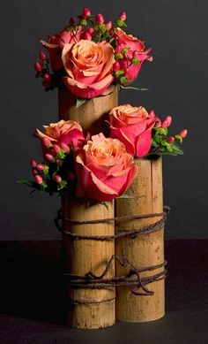 Bamboo and roses ... - Spring: Flower Arranging - Recycling, Gardening and Decorating