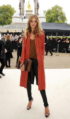 red shin length coat