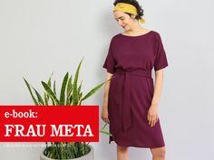 FRAU META • lässiges Kleid mit breitem Gürtel, e-book – STUDIO SCHNITTREIF Dress Sewing Patterns, Madame, Blouse, Short Sleeve Dresses, Summer Dresses, Studio, Collection, Tutorials, Inspiration