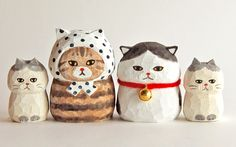 Cat Crafts, Arts And Crafts, Paper Crafts, Cute Clay, Paperclay, Kokeshi Dolls, Hand Art, Clay Dolls, Wooden Art