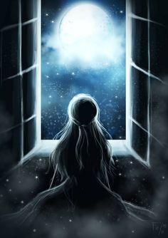 Magical Moonlight by Panda-neko-pyon on DeviantArt Beautiful Fantasy Art, Beautiful Moon, Dark Fantasy Art, Anime Girl Drawings, Anime Art Girl, Cute Drawings, Foto Fantasy, Fantasy Kunst, Scenery Wallpaper